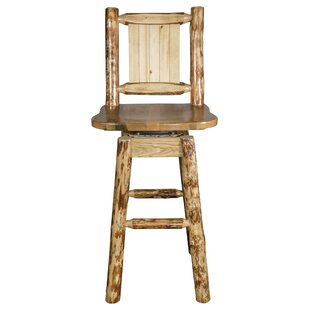 Tustin 24 Square Seat Wood Swivel Bar Stool Loon Peak