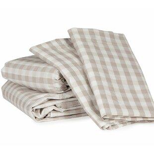 Gingham Plaid 300 Thread Count Cotton Sheet Set