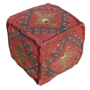 Wool Jute Square Pouf Ottoman by Divine Designs
