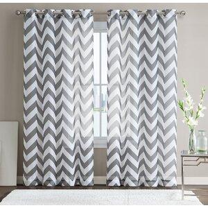 Bequette Chevron Sheer Grommet Curtain Panels (Set of 2)