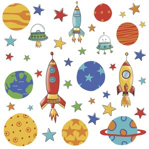 Planets And Rockets Wall Decal Part 92