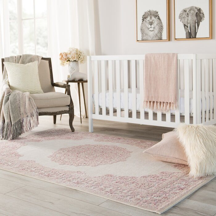 Fontanne Pink White Area Rug
