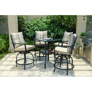 Aeliana High Swivel 5 Piece Dining Set with Cushions