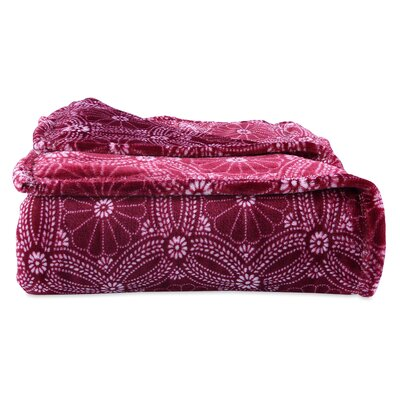 Dotted Floral Blanket Berkshire Blanket Color: Crimson, Size: Twin