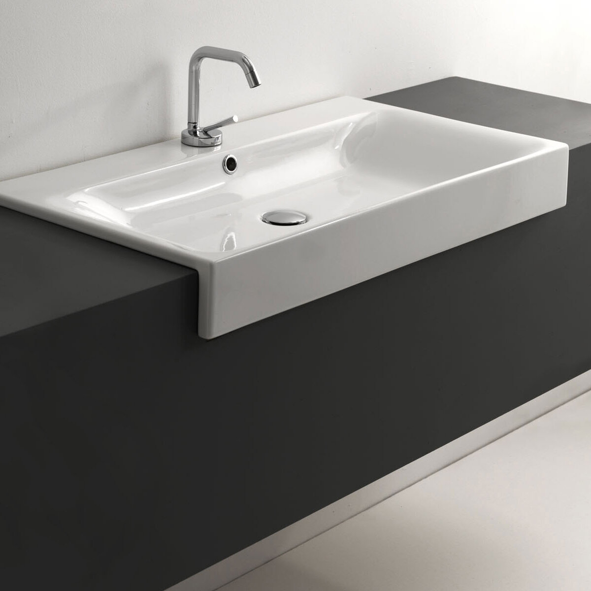 Ws Bath Collections Cento Ceramic Ceramic Rectangular Vessel Bathroom Sink With Faucet And Overflow Wayfair