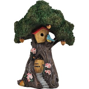 Fairy Tree House with Steps Decorative Garden Statue