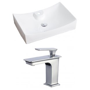 Best Deals Ceramic Rectangular Vessel Bathroom Sink with Faucet and Overflow By American Imaginations