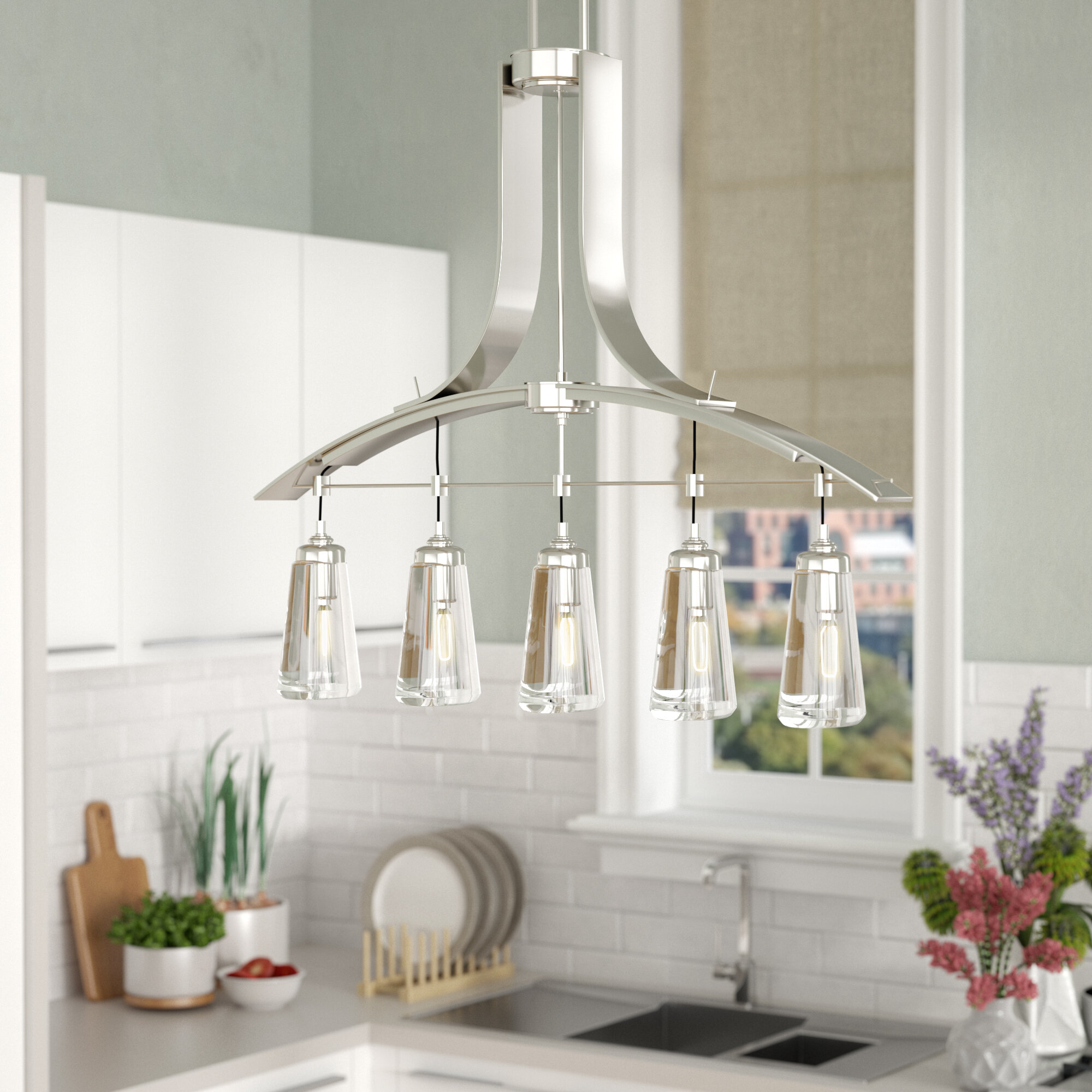 Brayden Studio Omeara 5 Light Kitchen Island Pendant U0026 Reviews | Wayfair