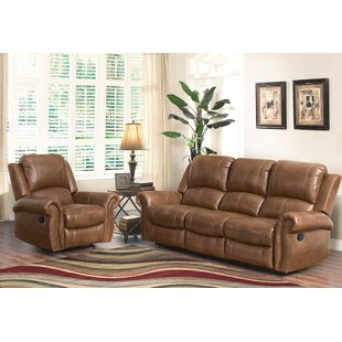Darby Home Co Bitter Root Reclining Leather 2 Piece Living Room