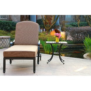 Ballentine Reclining Chaise Lounge with Cushion and Table by Canora Grey