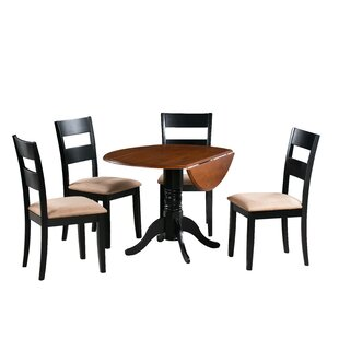 Adne 5 Piece Drop Leaf Solid Wood Dining Set August Grove