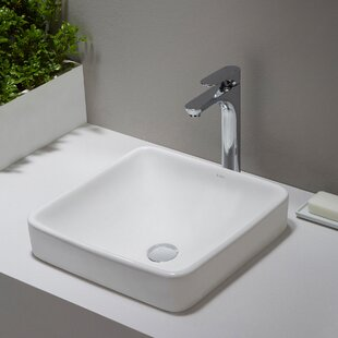 Kraus Elavo Ceramic Square Drop-In Bathroom Sink with Overflow