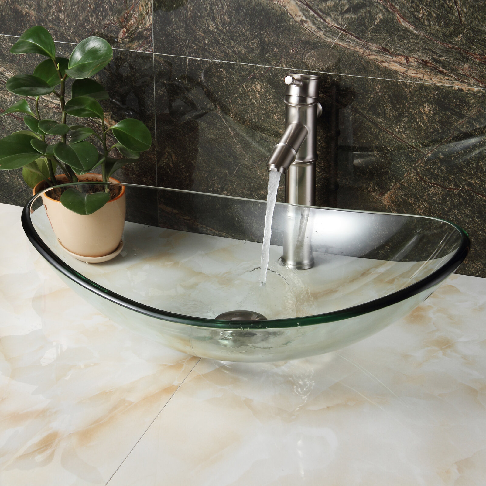 Elite Clear Boat Shaped Tempered Glass Vessel Bathroom Sink And Pop Up Drain And Mounting Ring Reviews Wayfair