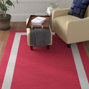 Affordable Wistrom Border Hand-Tufted Wool Red/White Area Rug By Red Barrel Studio