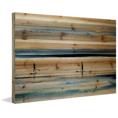 Highland Dunes 'Surfboard Paddling' by Parvez Taj Painting Print on Natural Pine Wood Size: 16 H x 24 W x 1.5 D