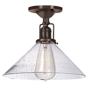 Shumway 1-Light Bubble Glass Semi-Flush Mount by Breakwater Bay
