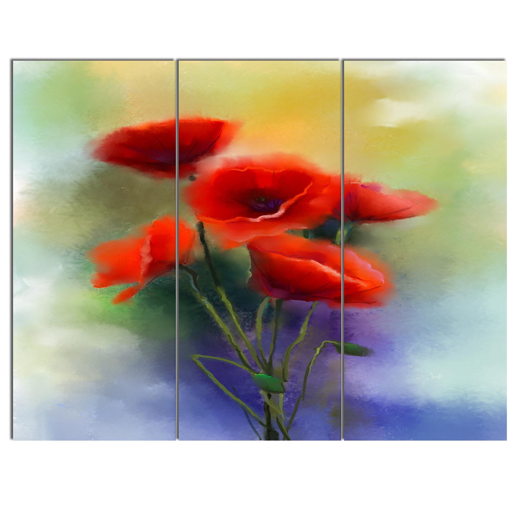 Designart watercolor red poppy flowers painting 3 piece painting designart watercolor red poppy flowers painting 3 piece painting print on metal set wayfair mightylinksfo