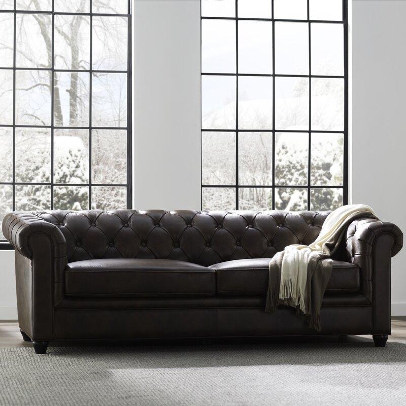Trent Austin Design Harlem Leather Chesterfield Sofa & Reviews   Wayfair