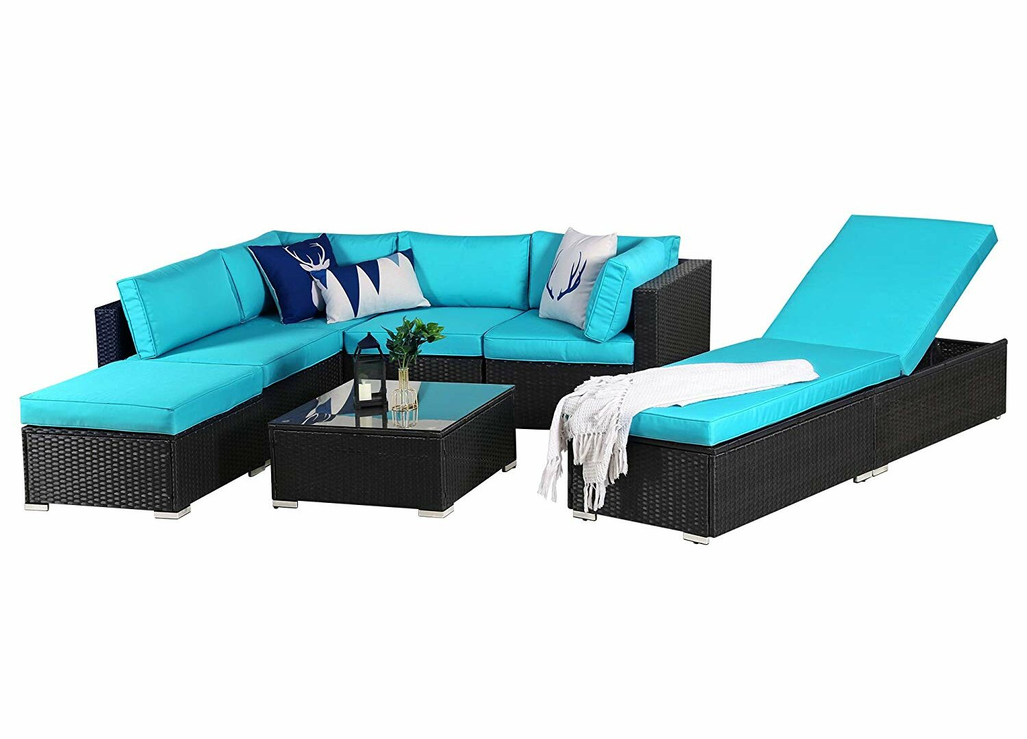 Latitude Run Sunay Outdoor 7 Piece Rattan Sectional Seating Group With Cushions Wayfair