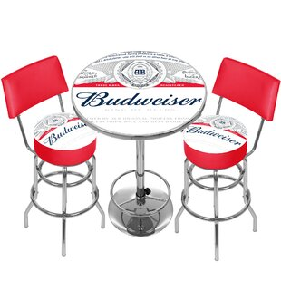 Budweiser Label Game Room Combo 3 Piece Pub Table Set