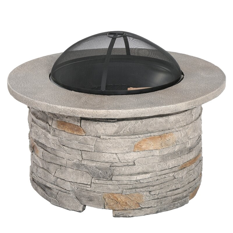 Perfect Winnett Faux Stone Wood Burning Fire Pit Table