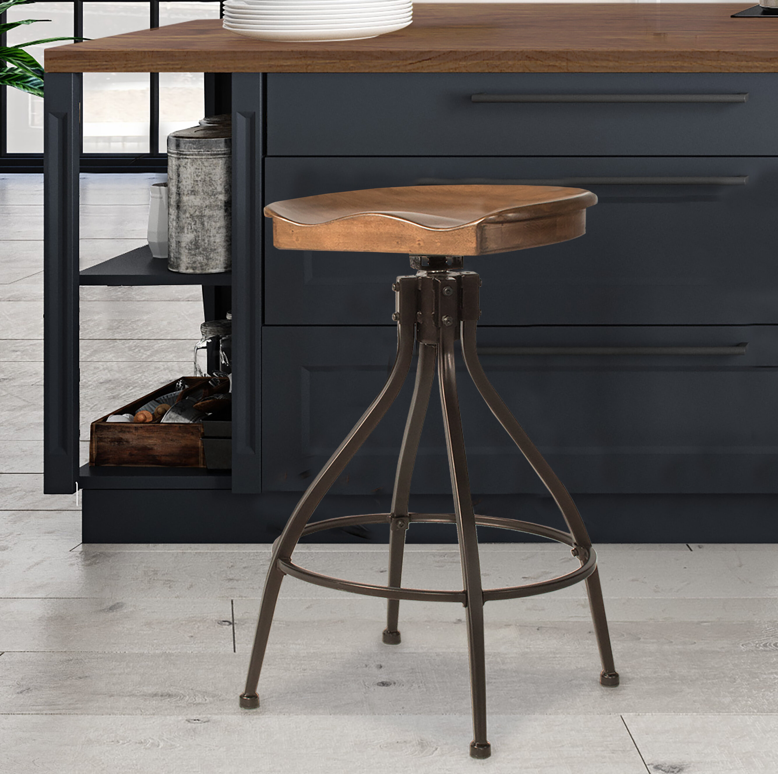 Swell Mcmahan Worland Adjustable Height Bar Stool Unemploymentrelief Wooden Chair Designs For Living Room Unemploymentrelieforg
