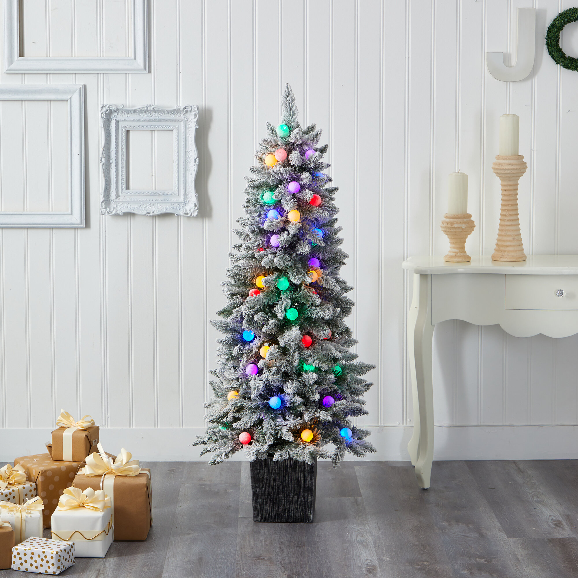 The Holiday Aisle Flocked Fir Artificial Christmas Tree With Multi Color Lights Wayfair