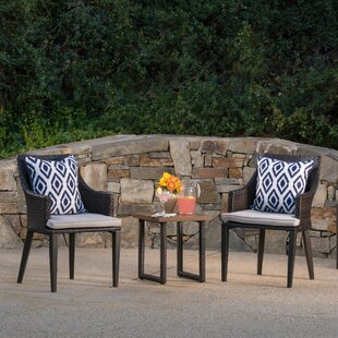 Charlton Home Columbard 3 Piece Rattan Conversation Set with Cushions