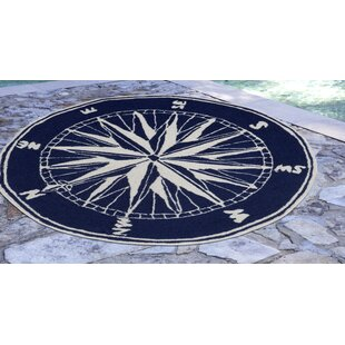Shelborne Compass Hand-Tufted Indoor/Outdoor Navy Area Rug