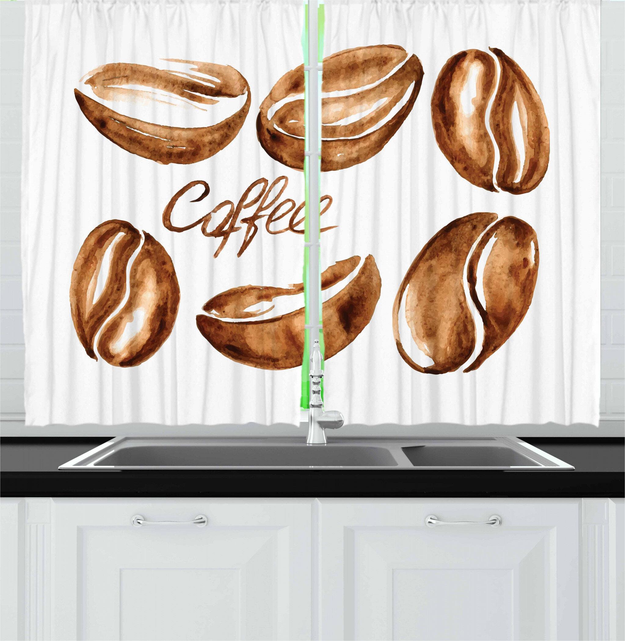 East Urban Home Coffee 2 Piece Kitchen Curtain Set Wayfair