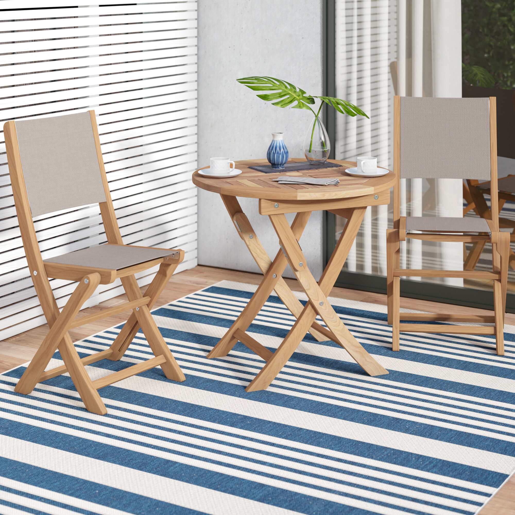 Rosecliff Heights Crider 3 Piece Teak Bistro Set Wayfair