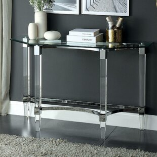 Miral Contemporary Glass Top Console Table by Rosdorf Park