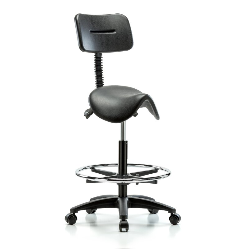 Height Adjustable Saddle Stool With Back And Foot Ring