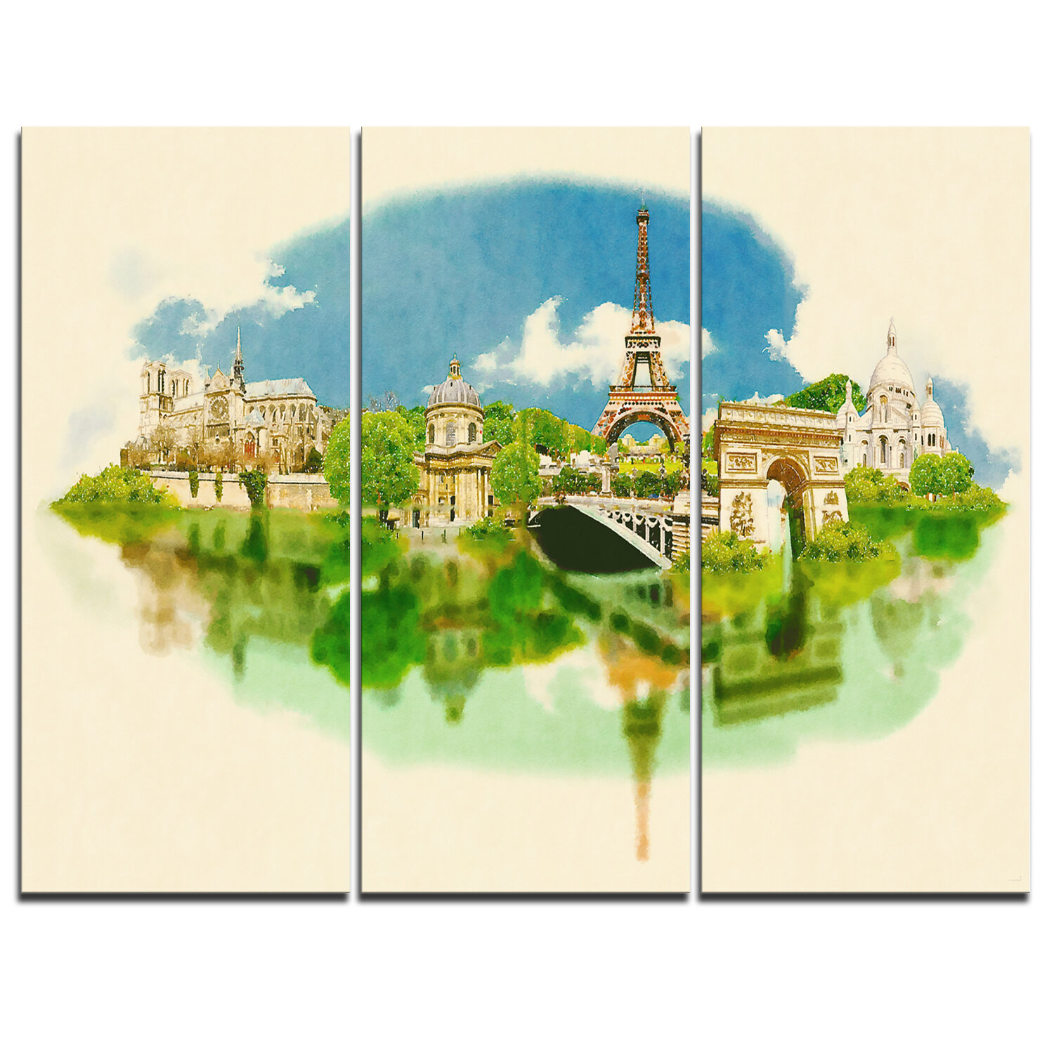 Designart Paris Panoramic View 3 Piece Graphic Art On Wrapped Canvas Set Wayfair