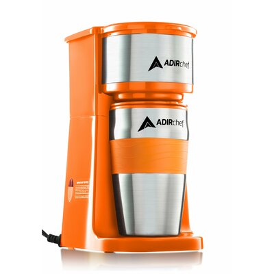 AdirChef  Grab and Go Personal Coffee Maker with 15 oz. Travel Mug  Color: Orange