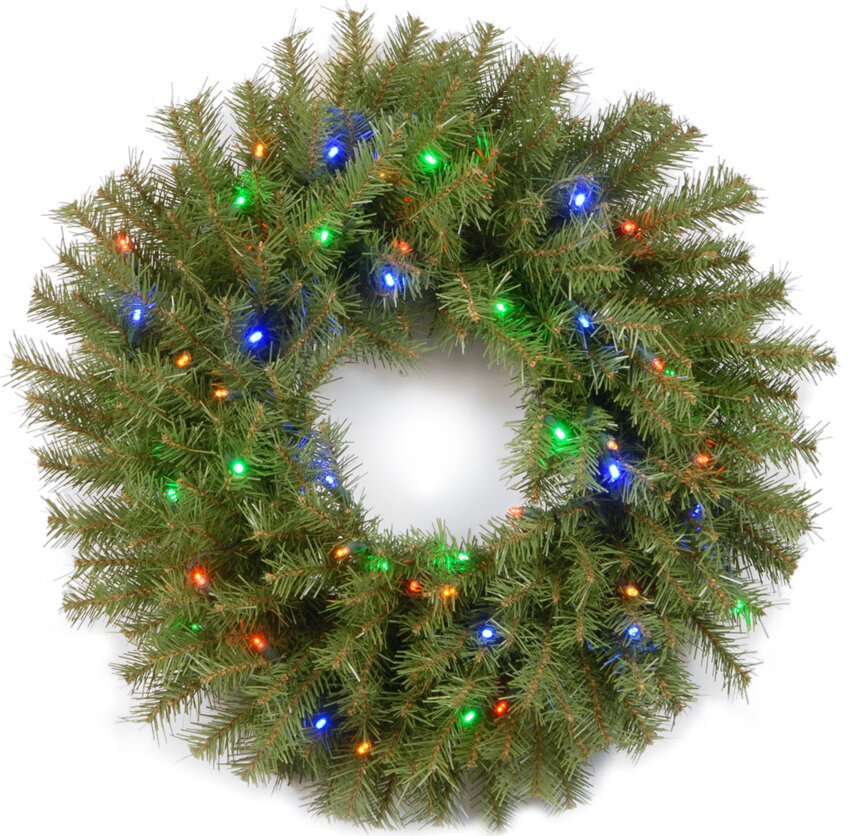24 Pre Lit Lighted Wreath With 50