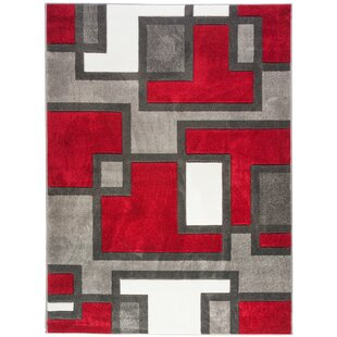 Brigman Imagination Squares Red Area Rug by Ebern Designs