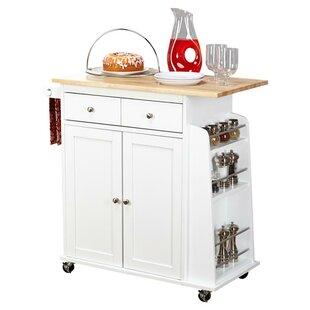 Ferraro Kitchen Cart with Wooden Top