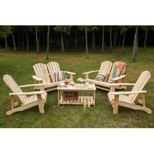 Riggio Solid Wood Adirondack Chair with Table