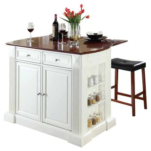 Byron Kitchen Island with Cherry Top and Saddle Stools by Beachcrest Home