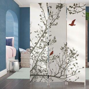 Affordable Bluestar Bird 3 Panel Room Divider ByIvy Bronx
