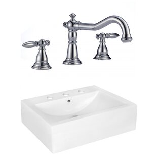 Look for Above Counter Ceramic Rectangular Vessel Bathroom Sink with Faucet and Overflow By Royal Purple Bath Kitchen