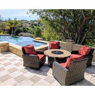 Darby Home Co Vlad Propane Gas 5 Piece Rattan Sunbrella Conversation Set with Cushions