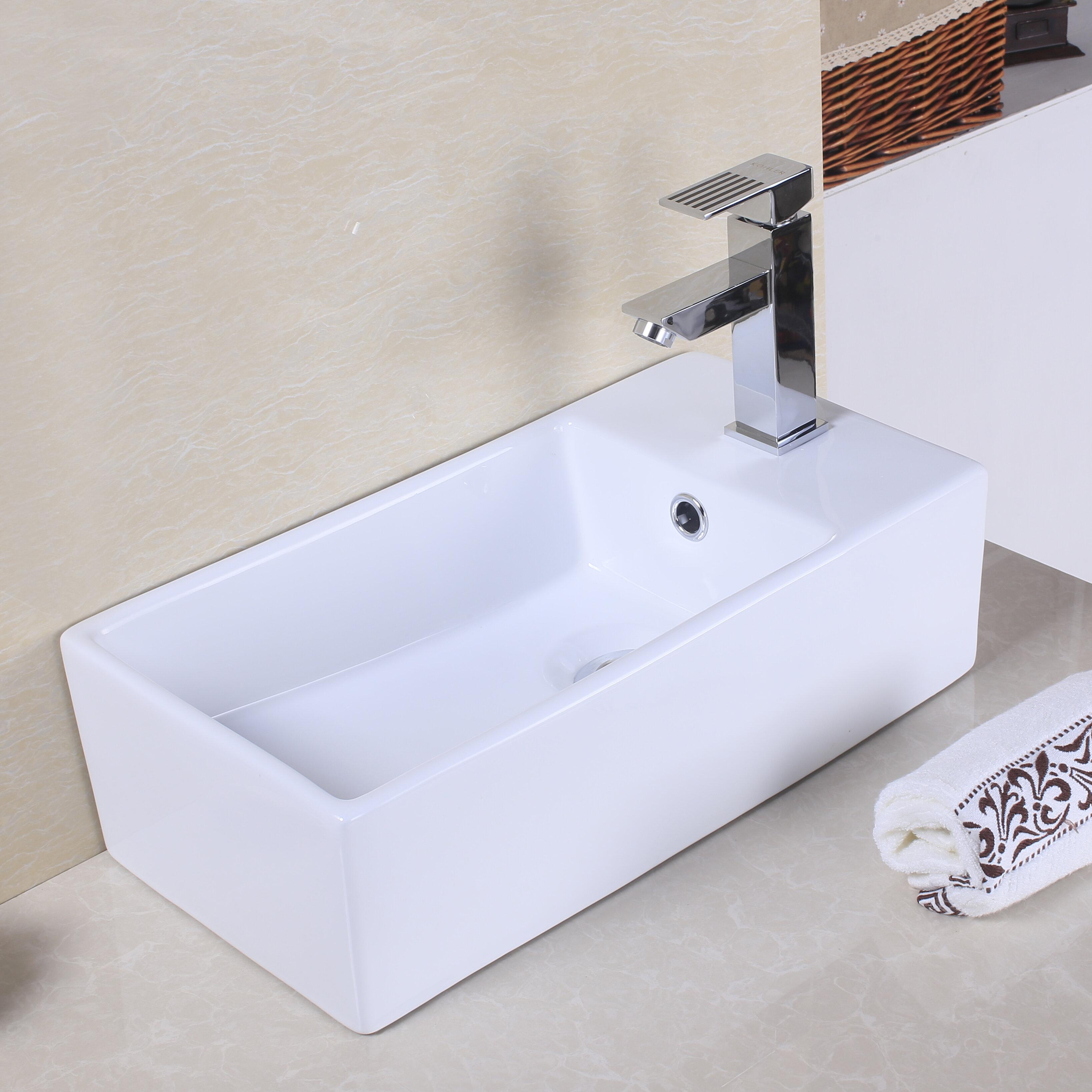 American Imaginations Ceramic Rectangular Vessel Bathroom Sink With Overflow Reviews Wayfair