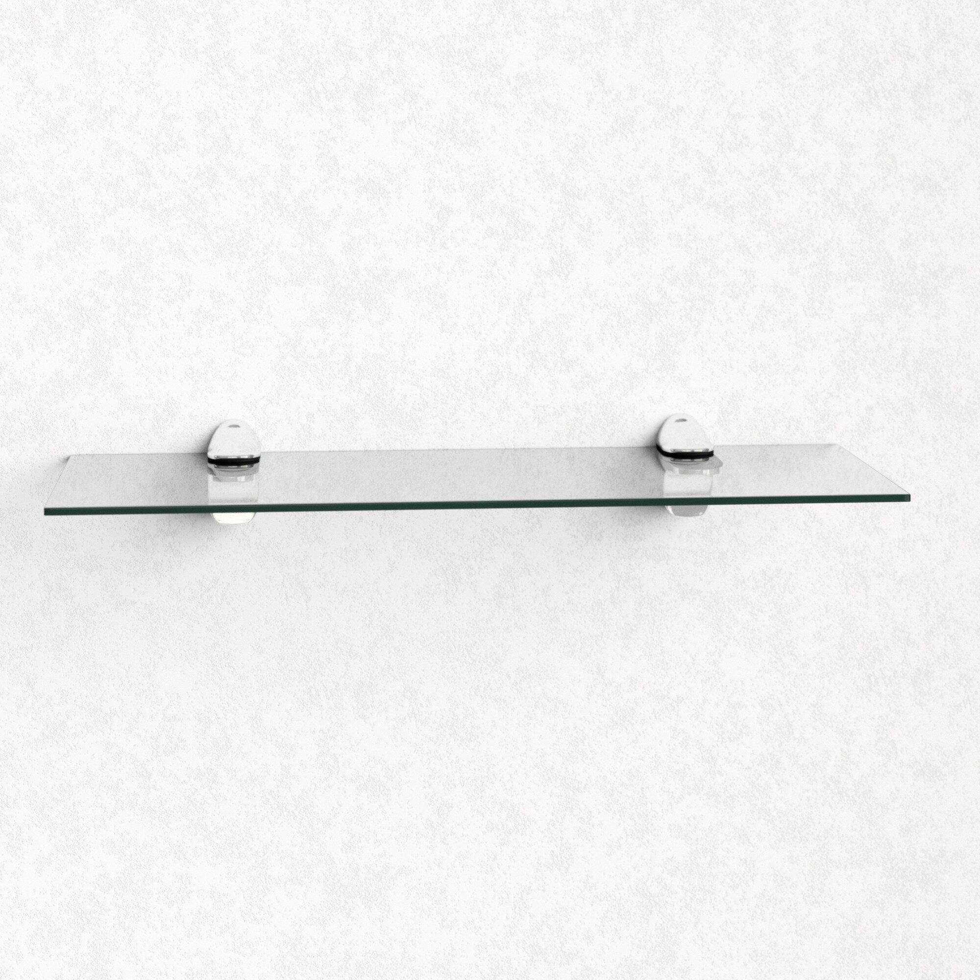 Modern Glass Floating Shelves Mirrored Wall Mounted Storage Display Shelf Home