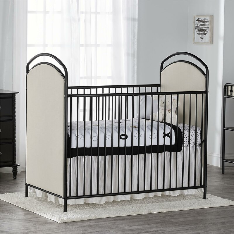 Little Seeds Rowan Valley Lotus Upholstered Metal Crib & Reviews ...