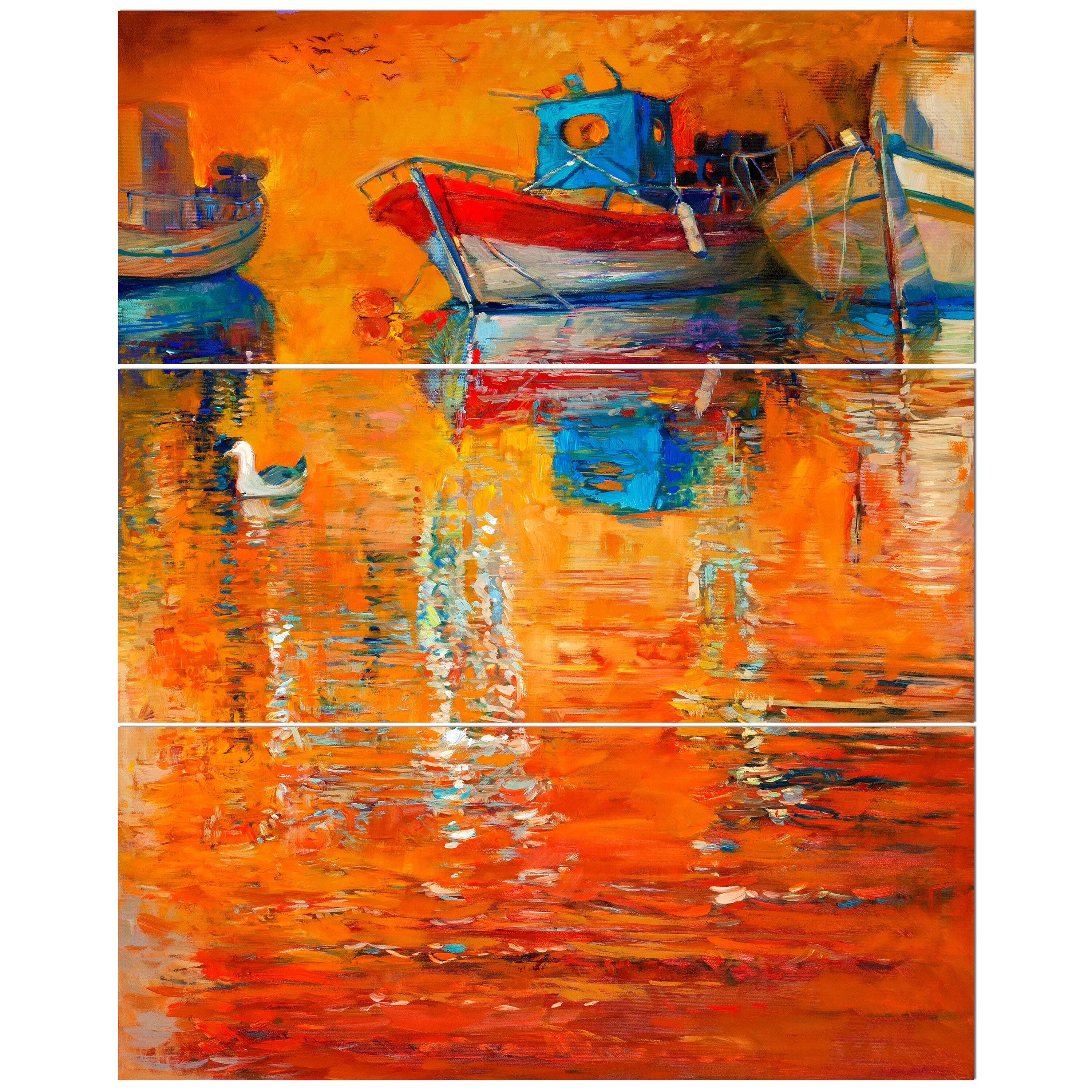 'Golden Sunset over Fishing Boats' Oil Painting Print Multi-Piece Image on  Wrapped Canvas