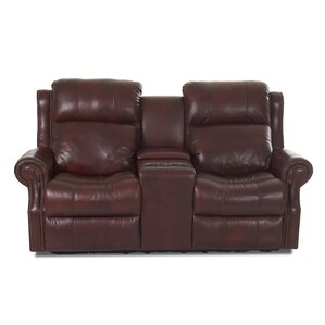 Defiance Leather Reclining Sofa by Red Barre..