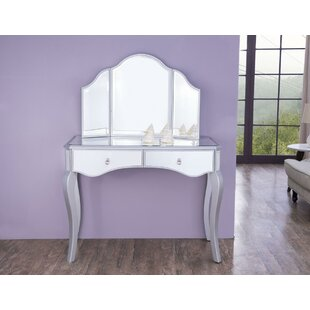 Rosdorf Park Daquan Table Vanity with Mirror