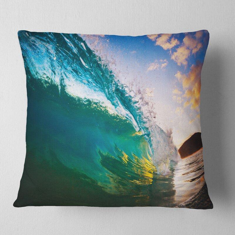East Urban Home Photography Surfer Beating Waves Pillow Wayfair